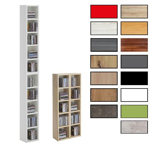 cd regal dvd stand medien aufbewahrung m bel design in weiss sonoma eiche ebay. Black Bedroom Furniture Sets. Home Design Ideas