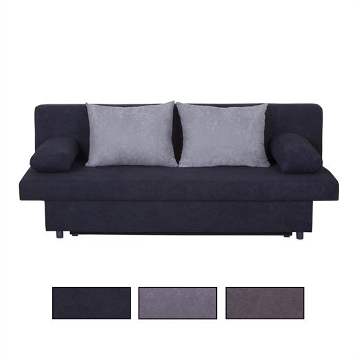 sofa mit schlaffunktion schwarz oder grau couch garnitur 2 3 sitzer bettkasten ebay. Black Bedroom Furniture Sets. Home Design Ideas