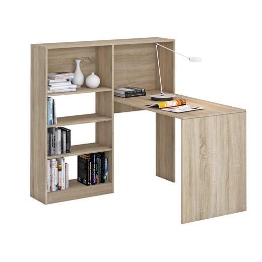 schreibtisch mit regal sonoma eiche b ro pc computer eck arbeitsplatz jugend ebay. Black Bedroom Furniture Sets. Home Design Ideas