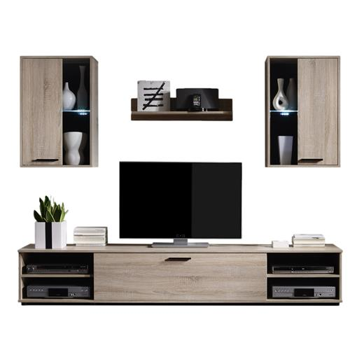 wohnwand sonoma eiche mit led anbau schrank tv m bel wohnzimmer design modern ebay. Black Bedroom Furniture Sets. Home Design Ideas