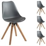 4er Set Stuhl aus Kunststoff in grau