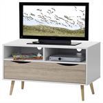 TV-Rack LINUS in weiss/Sonoma Eiche