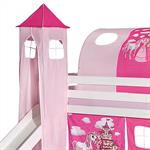 Turm zu Bett mit Rutsche, rosa