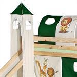 Turm zu Bett mit Rutsche, grün/beige