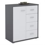 Kommode TIRANO 1 Tür, 4 Schubladen, grau/weiß