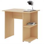 Schreibtisch KUBA in buchefarben mit 2 Ablagen