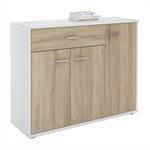 Kommode ESTELLE mit 3 Türen, 1 Schublade weiß/Sonoma Eiche