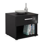Nachttisch MARY Hochglanz schwarz mit Schublade
