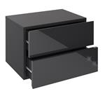 Wandregal Nachtschrank ANNI mit 2 Schubladen in Hochglanz schwarz
