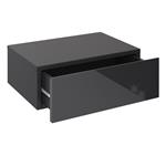 Hängende Nachtkommode ANNE mit 1 Schublade, Hochglanz schwarz