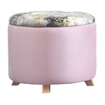 Hocker BONITO Samtbezug in rosa mit Blumenmotiv