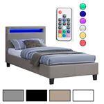 Polsterbett HIMALAYA mit LED 90 x 200 cm, verschiedene Farben