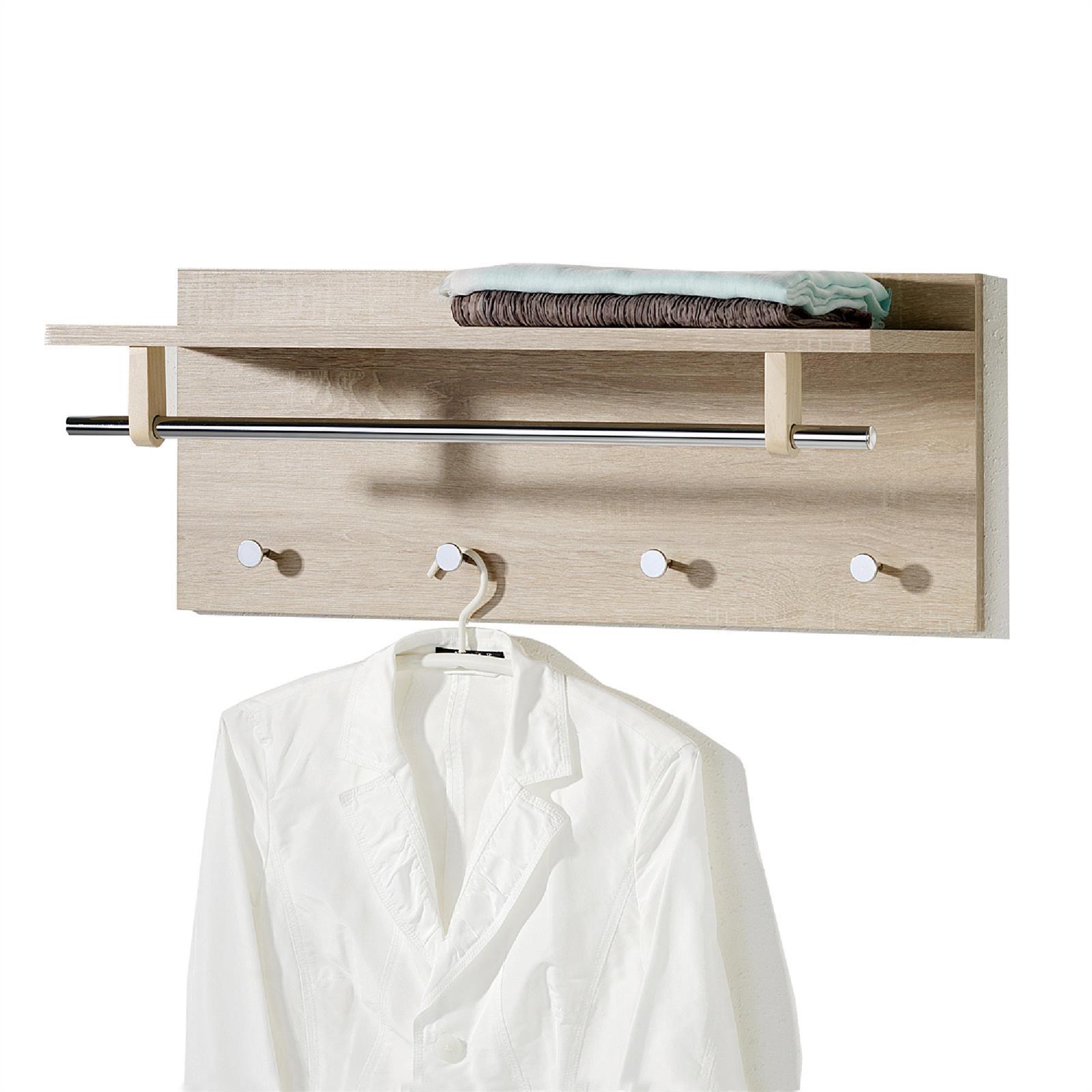 wandgarderobe mit ablage haken kleiderstange flur diele m bel weiss sonoma eiche ebay. Black Bedroom Furniture Sets. Home Design Ideas