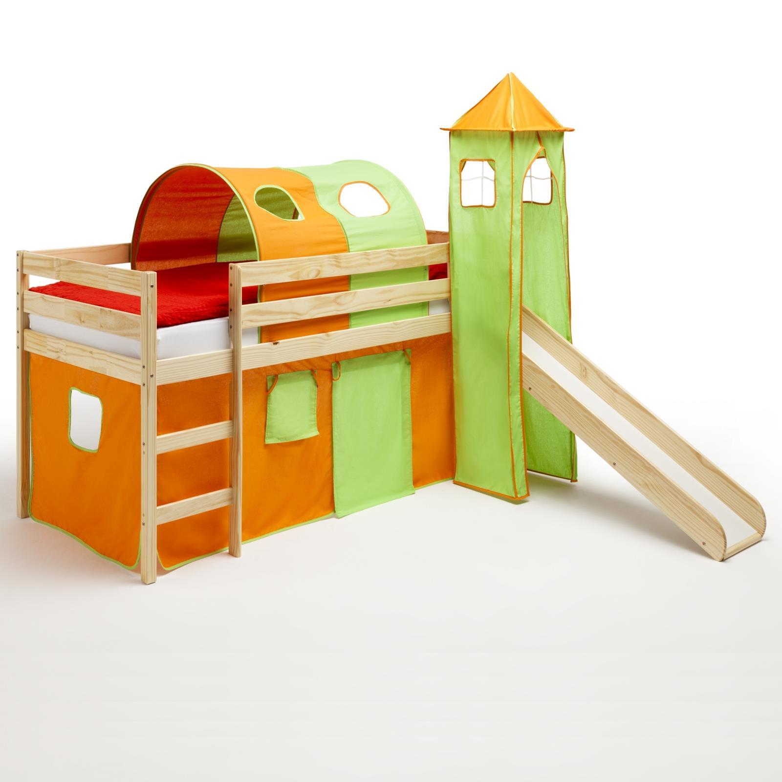 Vorhang Kinderzimmer Orange : Rutschbett Tunnel Turm Vorhang orangegrün  CAROMöbel