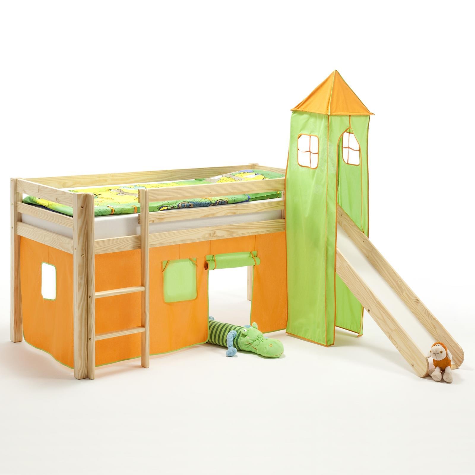 Rutschbett mit Vorhang uTurm orangegrün  CAROMöbel