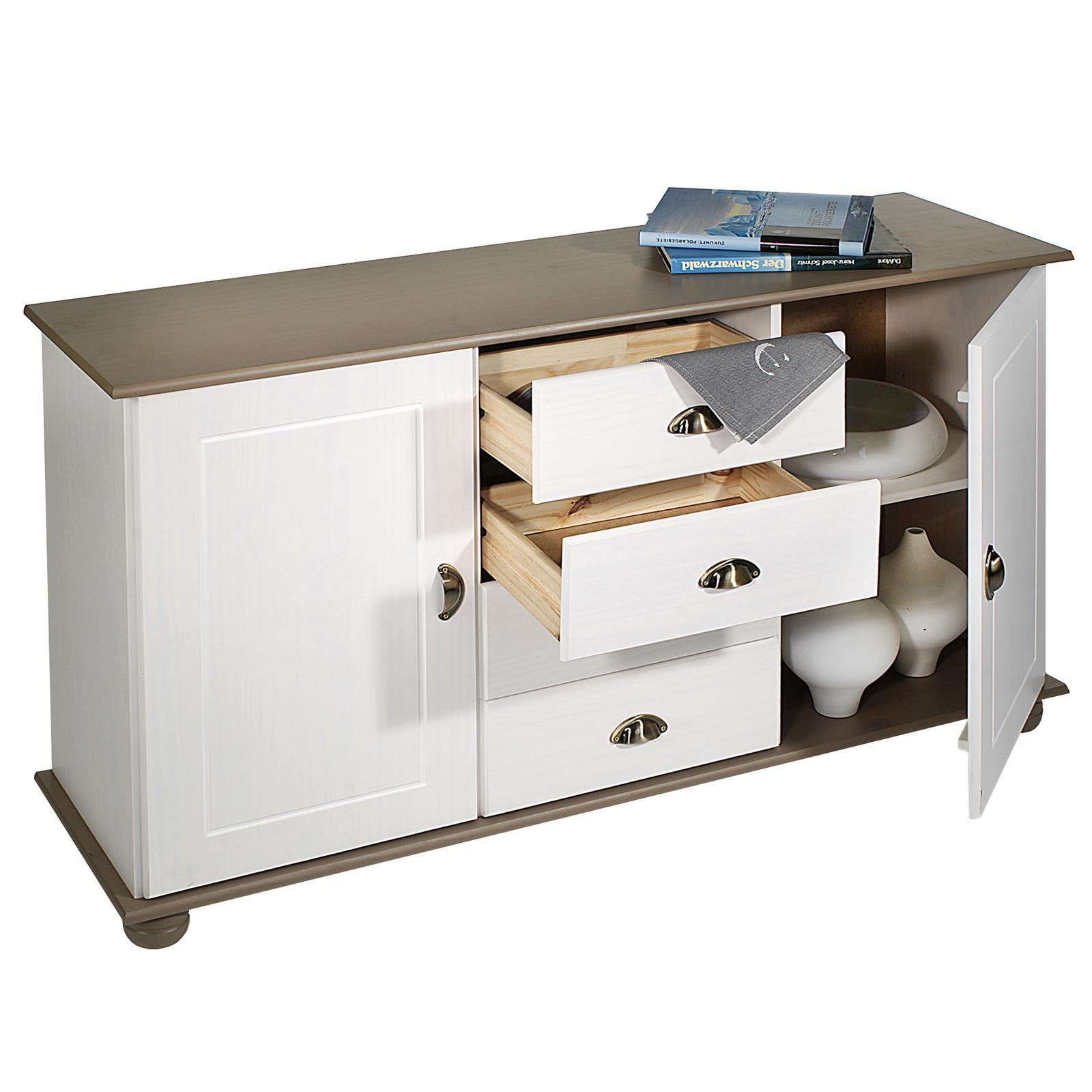 Wohnzimmer Sitzsack Chacos In Weiß Taupe: Apothekerkommode 2 Türen Und 4 Schubladen Weiß/taupe