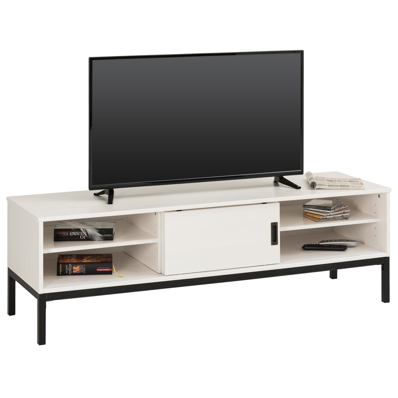 TV Lowboard in weiß mit 2 Schiebetüren   CARO-Möbel