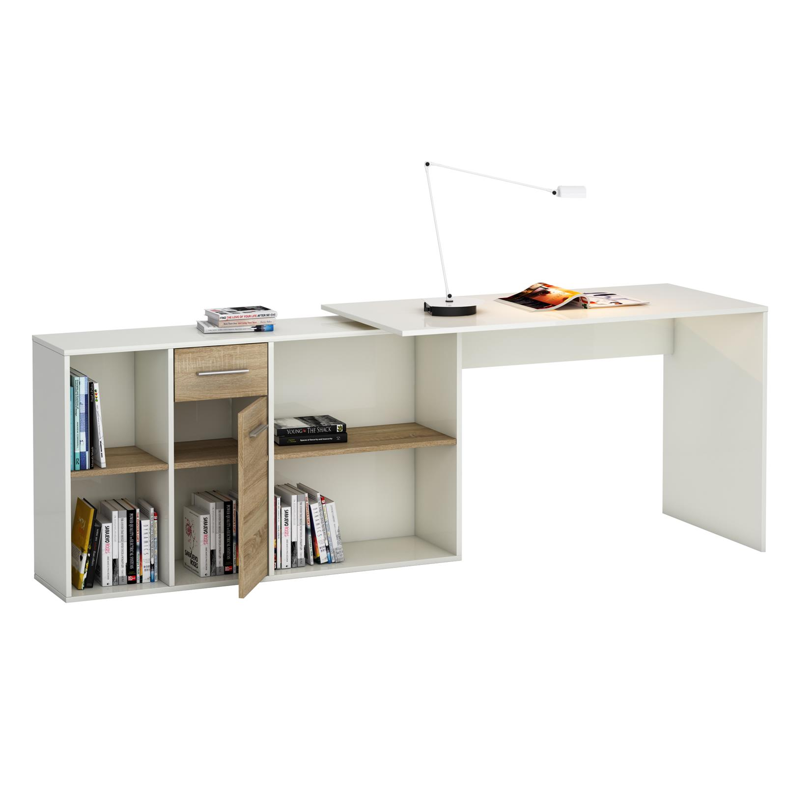 eckschreibtisch computer schreibtisch mit regal winkel. Black Bedroom Furniture Sets. Home Design Ideas