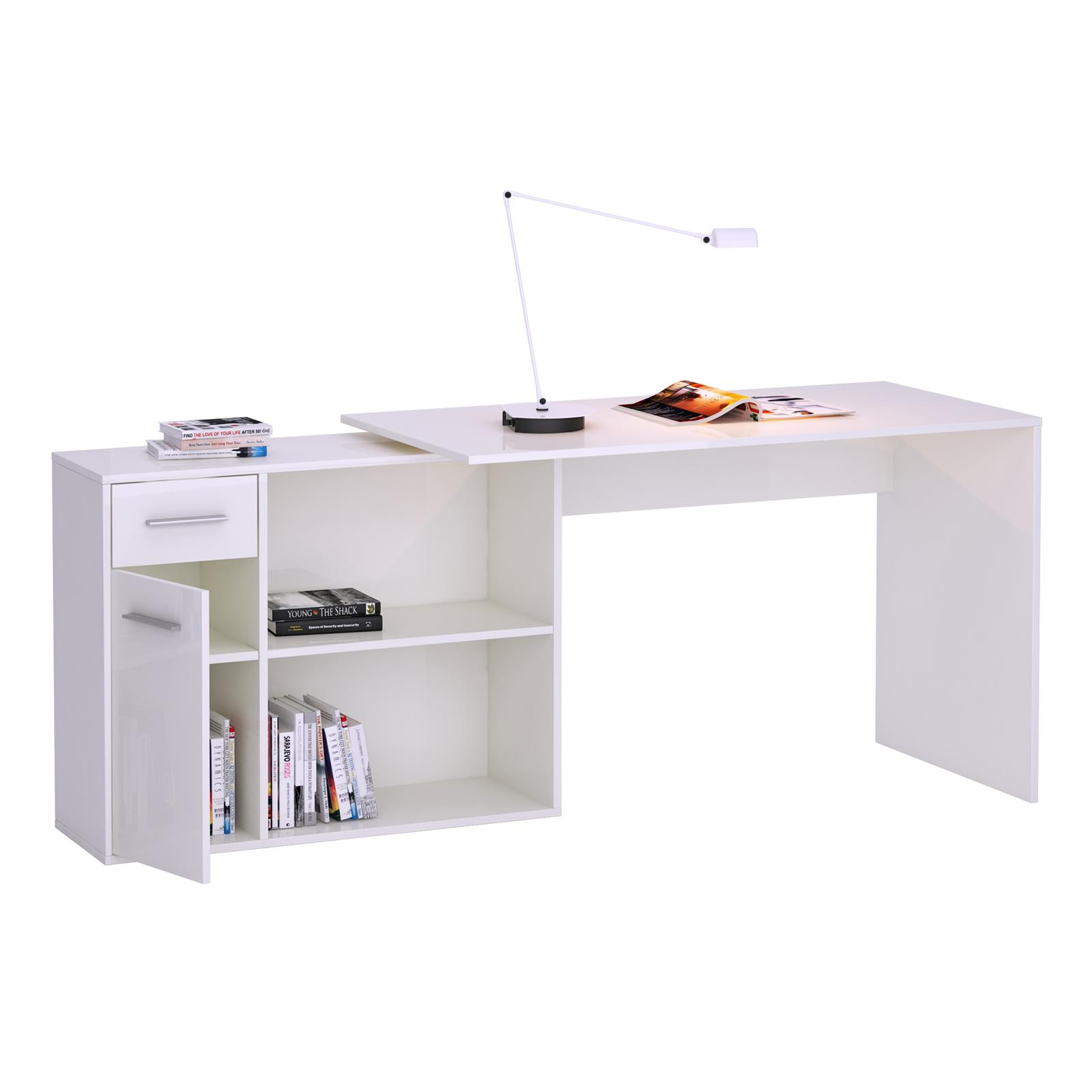 eckschreibtisch lena mit regal in wei caro m bel. Black Bedroom Furniture Sets. Home Design Ideas