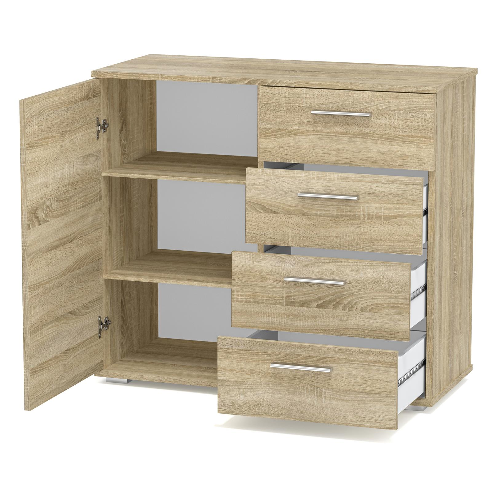 kommode sideboard schrank in verschiedenen farben highboard 4 schubladen ebay. Black Bedroom Furniture Sets. Home Design Ideas