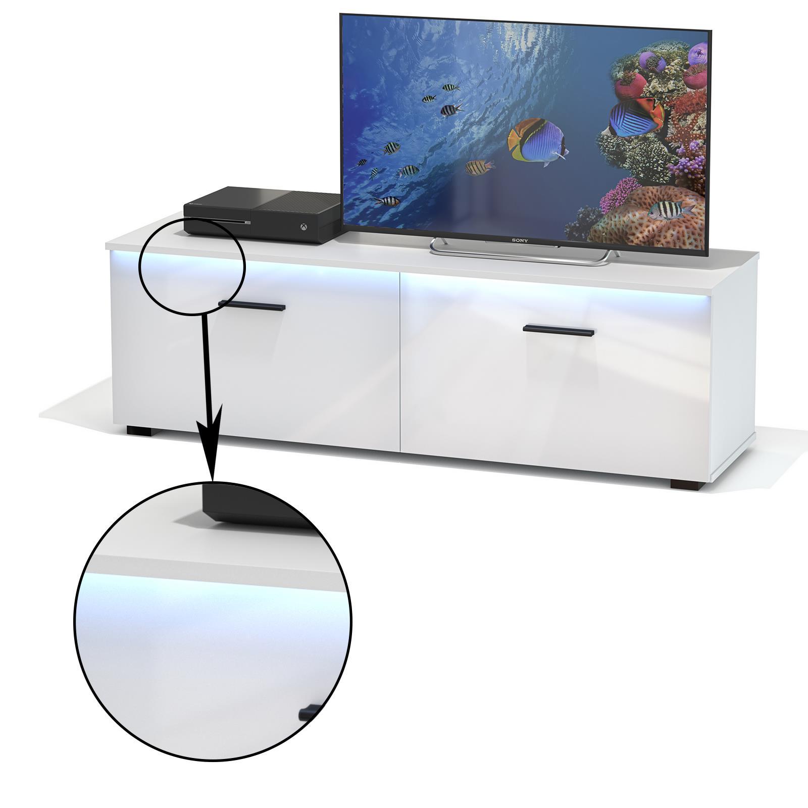 tv lowboard malibu wei hochglanz mit led beleuchtung caro m bel. Black Bedroom Furniture Sets. Home Design Ideas