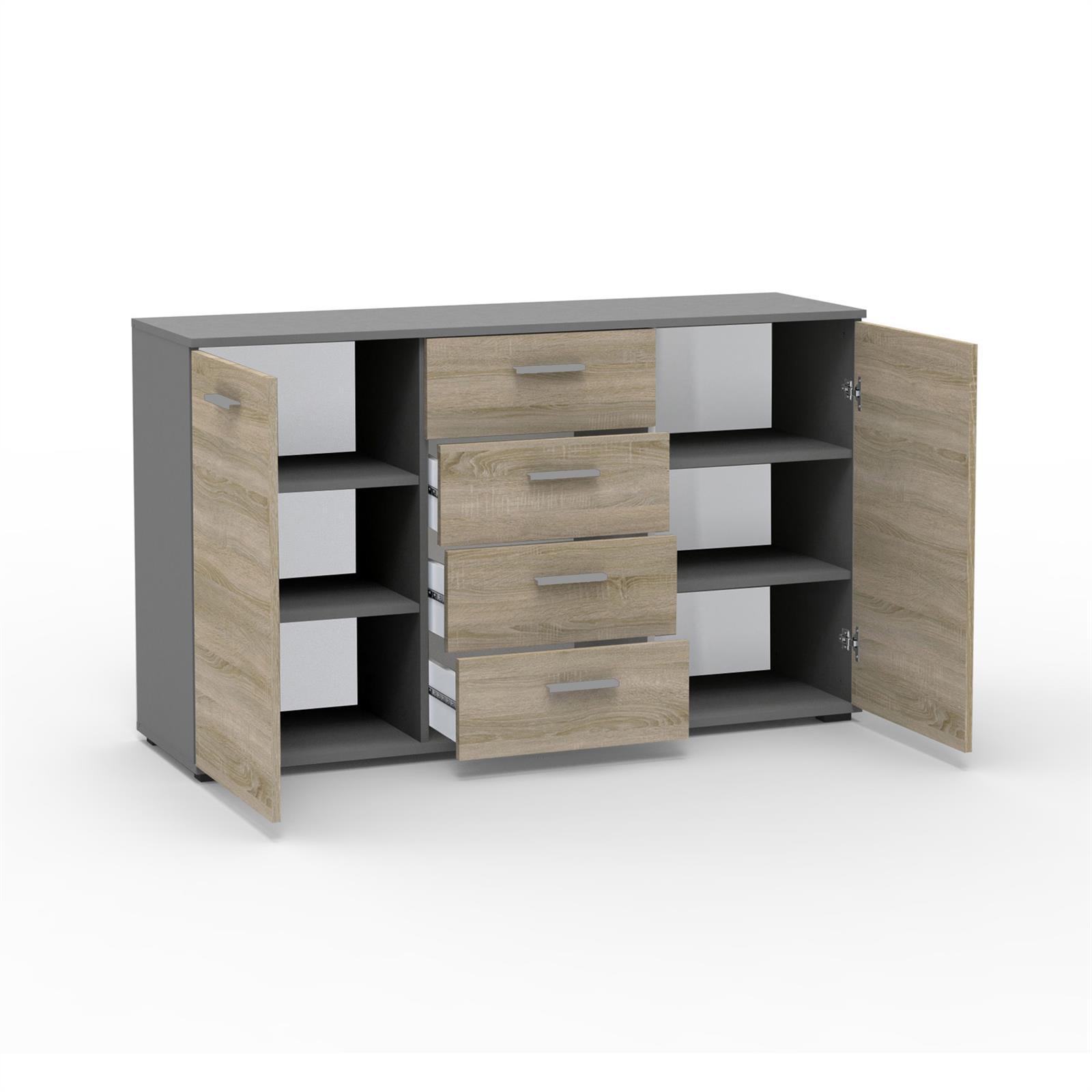 kommode chicago in grau sonoma eiche 4 schubladen caro m bel. Black Bedroom Furniture Sets. Home Design Ideas