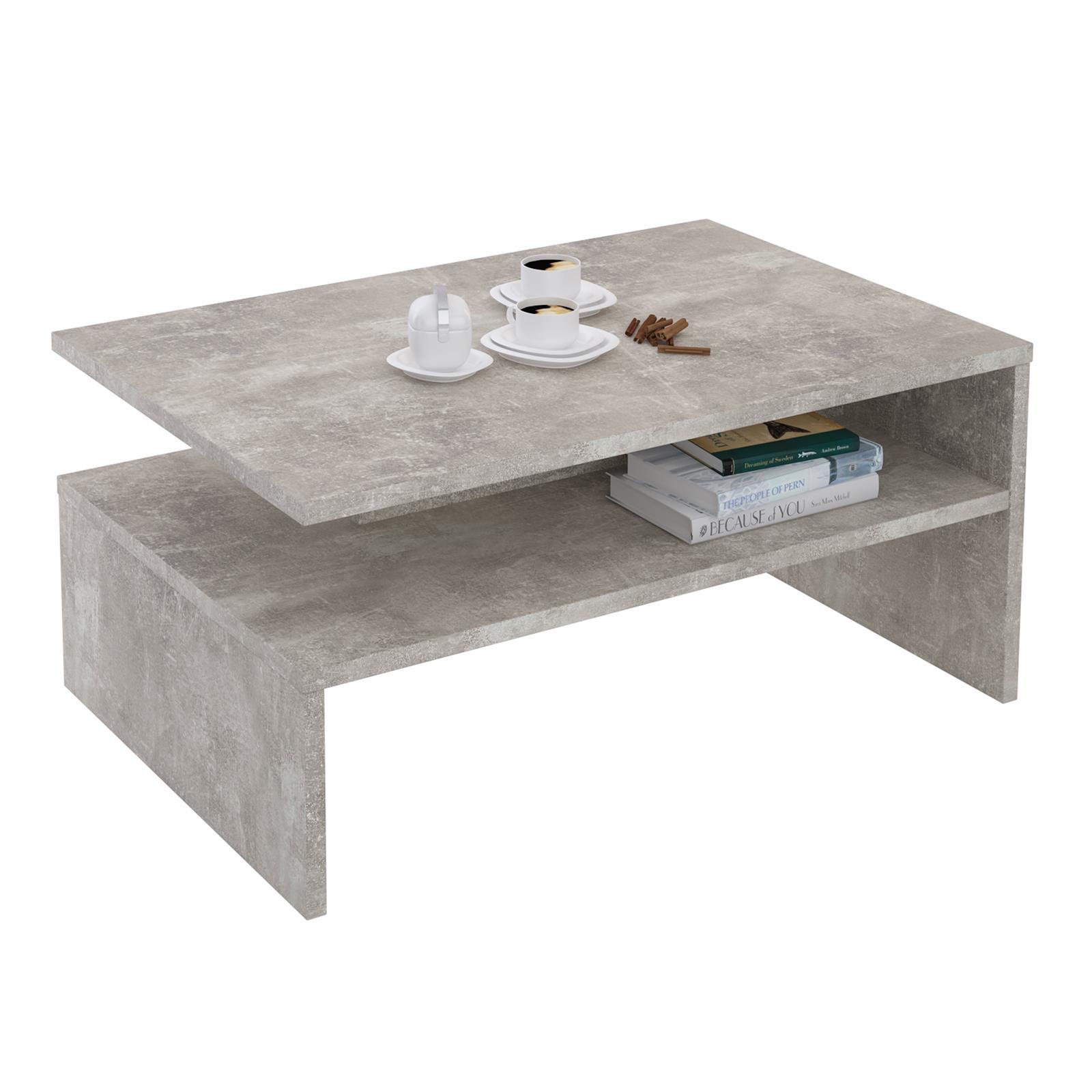 Couchtisch paulina in betonoptik mit ablagefach caro m bel for Couchtisch in betonoptik