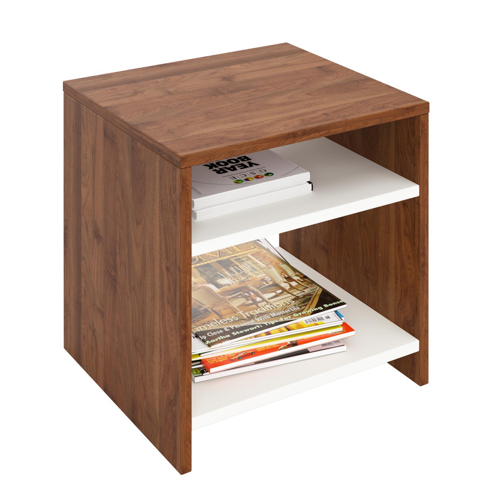 beistelltisch almeria nussbaum wei mit 2 f chern caro m bel. Black Bedroom Furniture Sets. Home Design Ideas