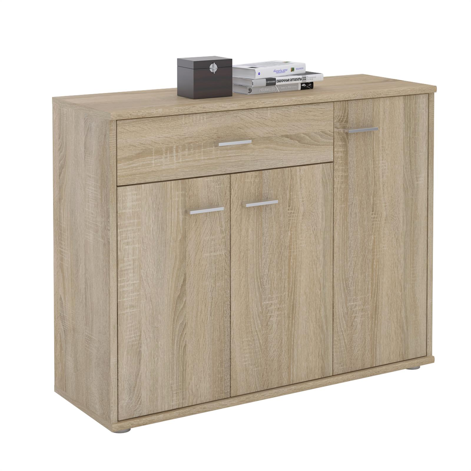 kommode sideboard mehrzweckschrank 3 t ren und 1 schublade 88 cm breit ebay. Black Bedroom Furniture Sets. Home Design Ideas