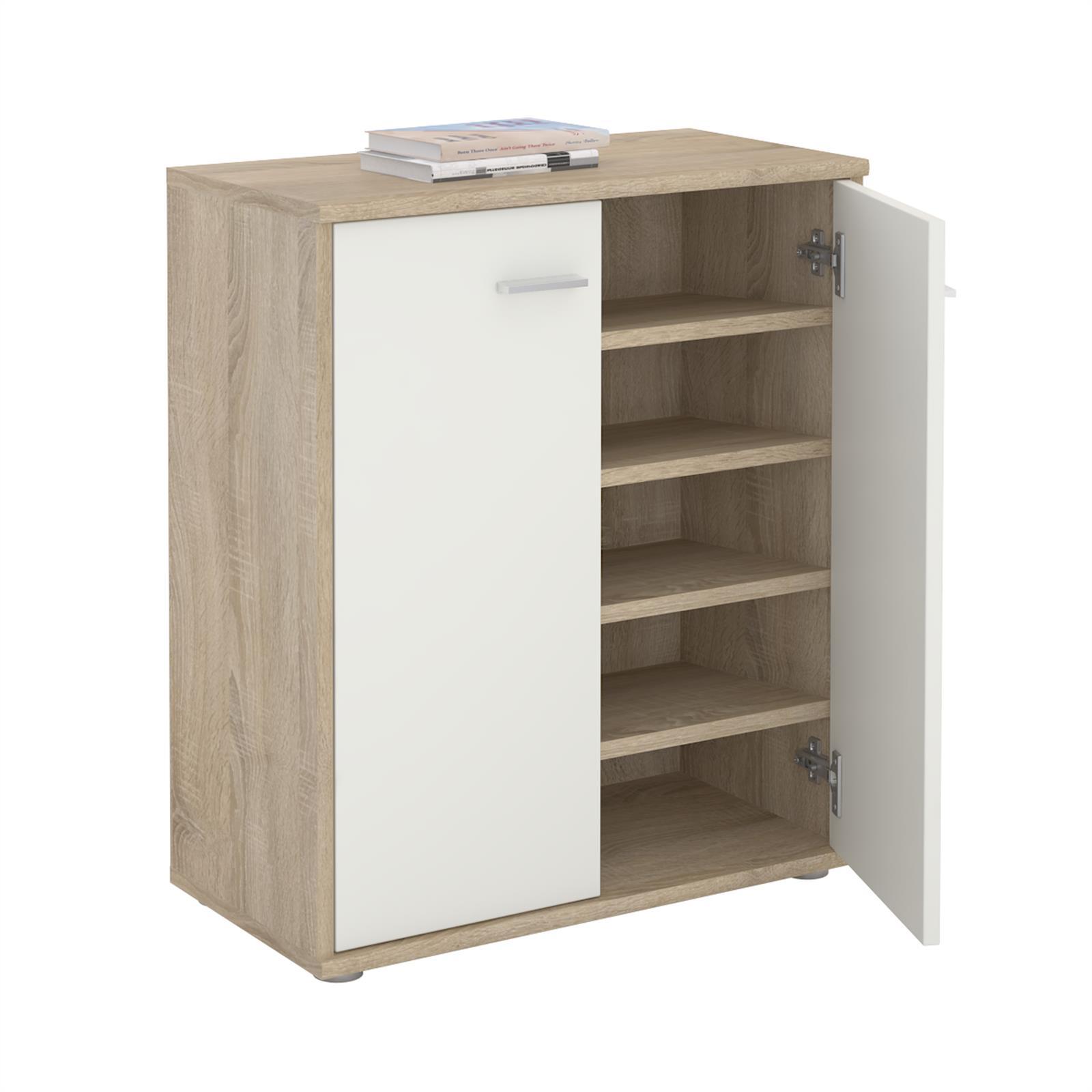 schuhschrank lennis 2 t ren in sonoma eiche wei caro m bel. Black Bedroom Furniture Sets. Home Design Ideas