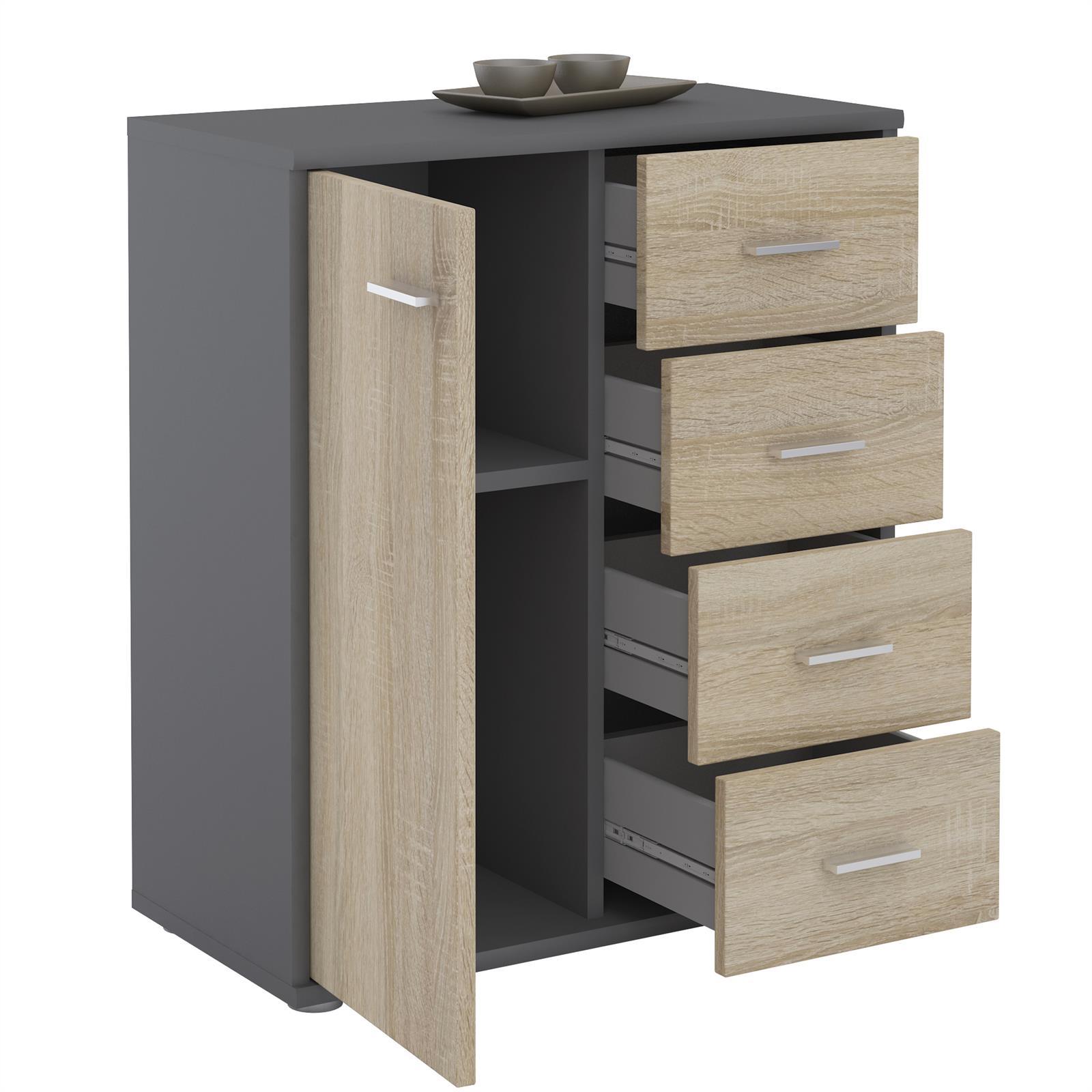 kommode tirano 1 t r 4 schubladen grau sonoma eiche caro m bel. Black Bedroom Furniture Sets. Home Design Ideas