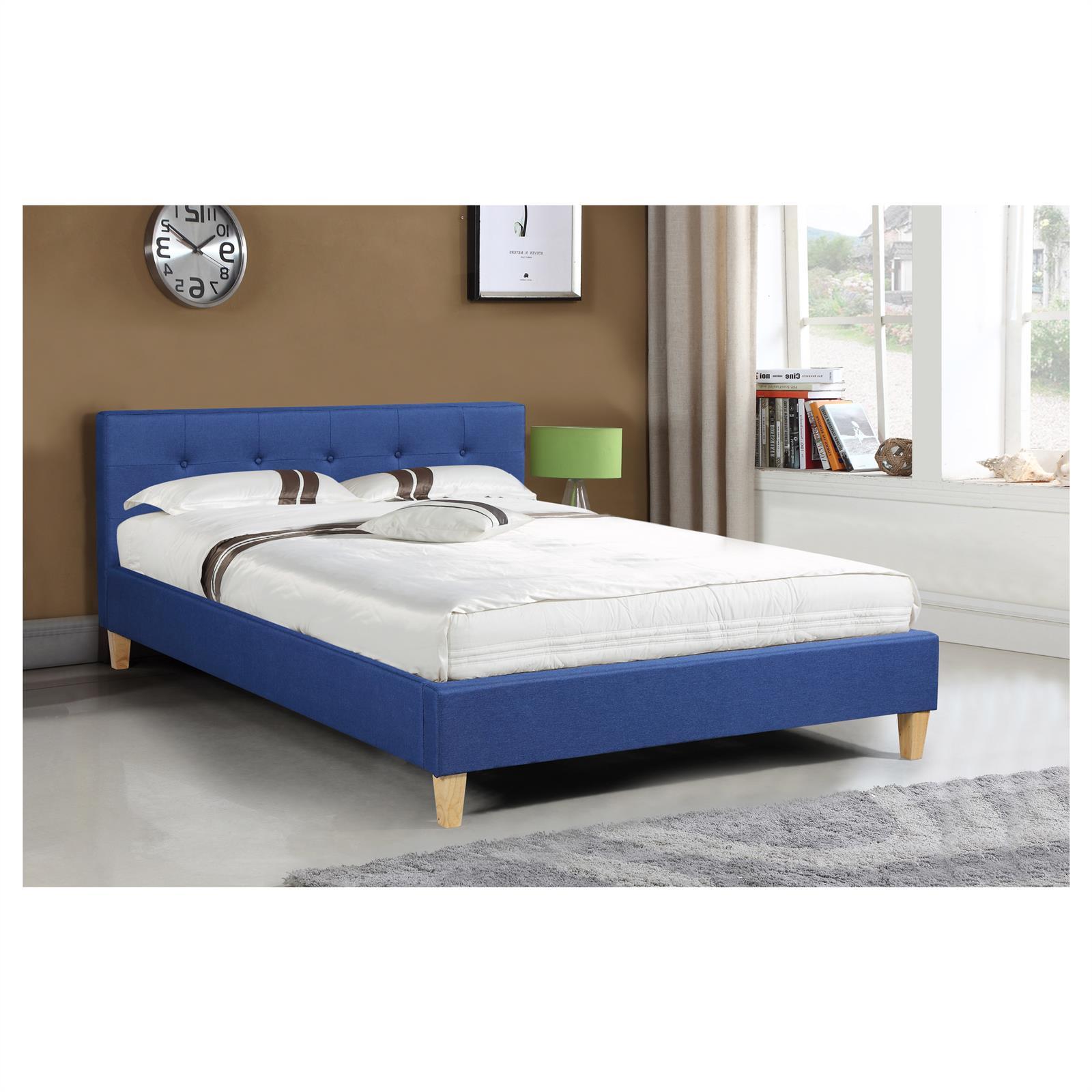 polsterbett doppelbett bettgestell 140x200 cm rollrost. Black Bedroom Furniture Sets. Home Design Ideas