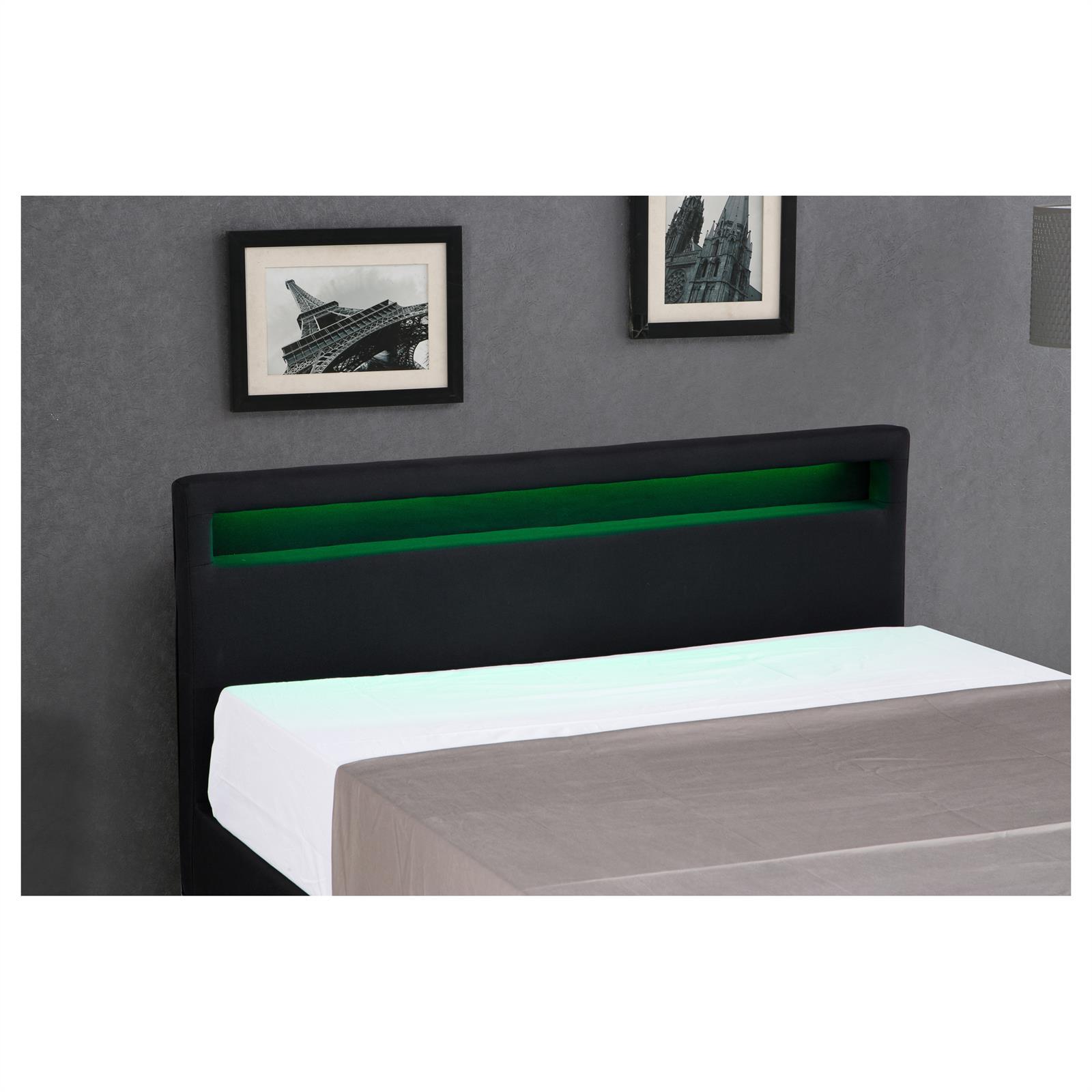 polsterbett satoka mit led 120x200 cm schwarz inkl lattenrost caro m bel. Black Bedroom Furniture Sets. Home Design Ideas