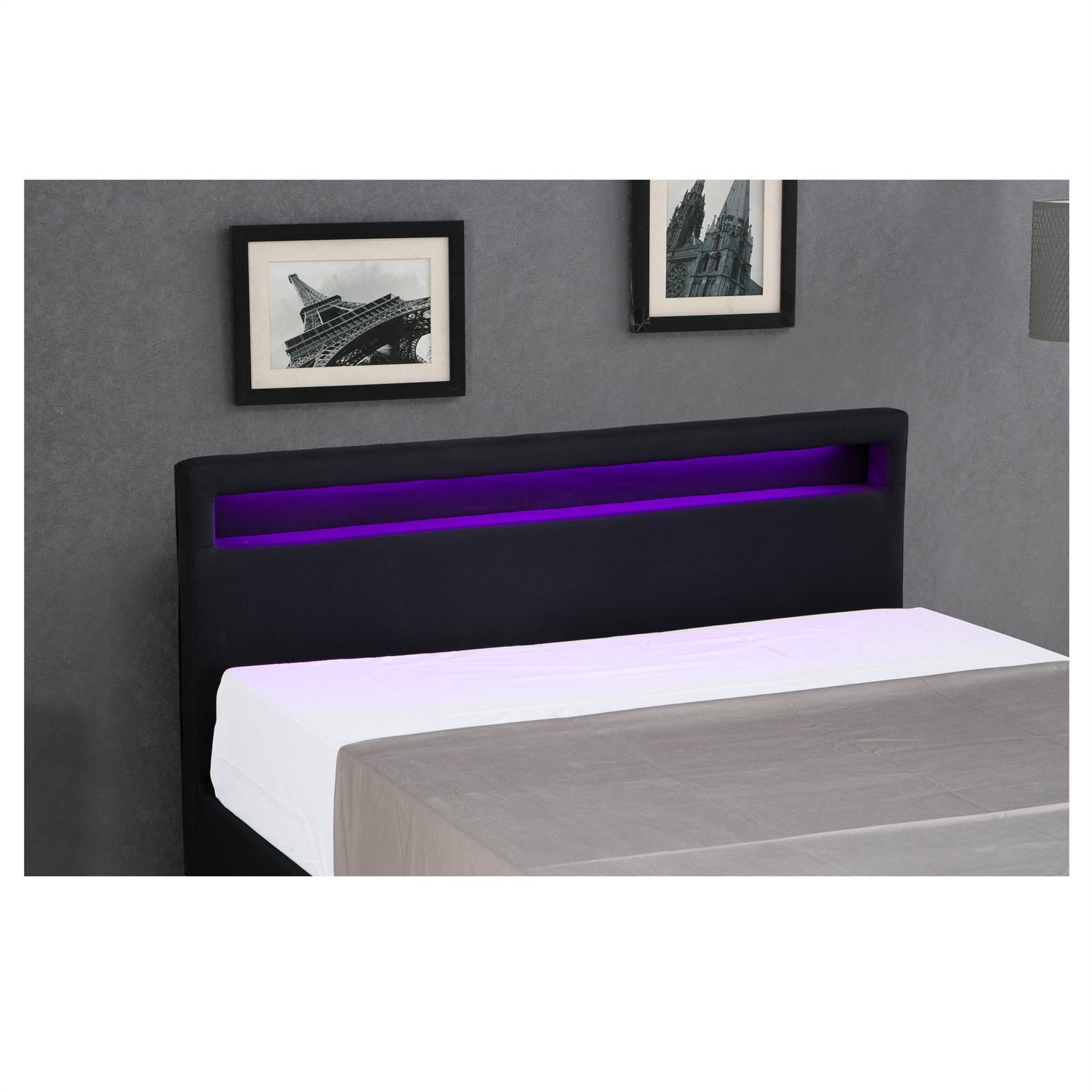 polsterbett einzelbett jugendbett doppelbett mit led 120 x 200 cm stoffbezug ebay. Black Bedroom Furniture Sets. Home Design Ideas