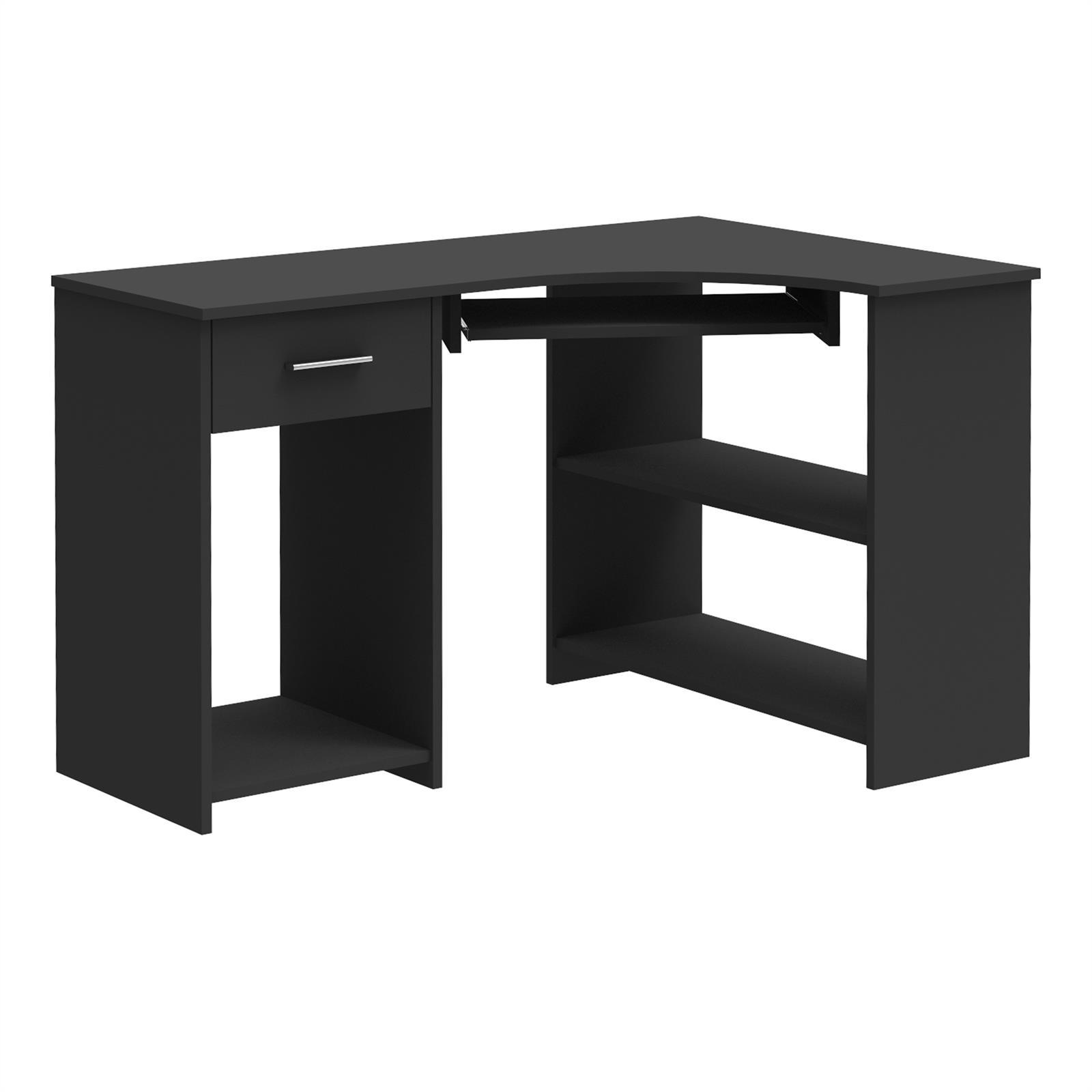 eckschreibtisch silvia in schwarz mit tastaturauszug caro m bel. Black Bedroom Furniture Sets. Home Design Ideas