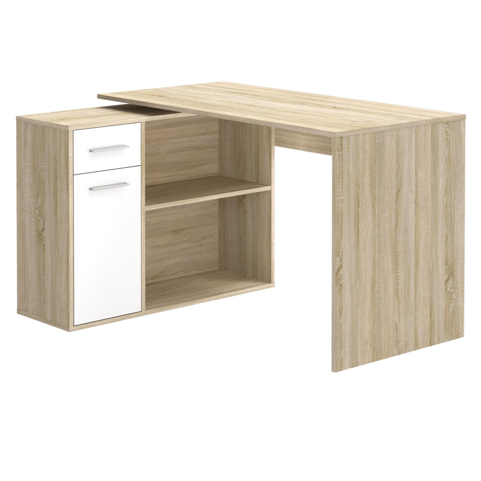 eckschreibtisch lena mit regal in sonoma eiche wei caro m bel. Black Bedroom Furniture Sets. Home Design Ideas