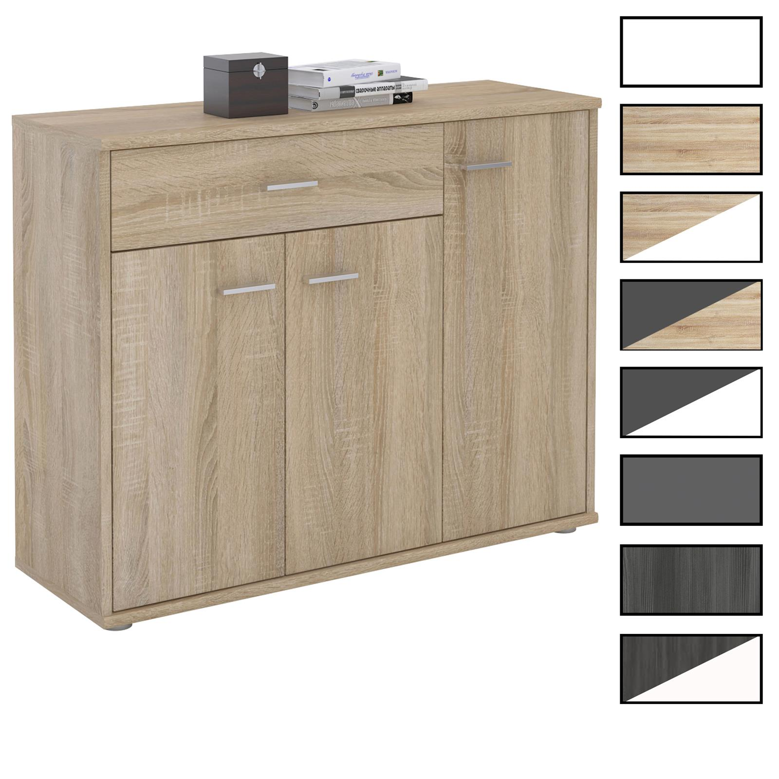 kommode sideboard mehrzweckschrank 3 t ren und 1 schublade 88 cm breit eur 62 95 picclick de. Black Bedroom Furniture Sets. Home Design Ideas