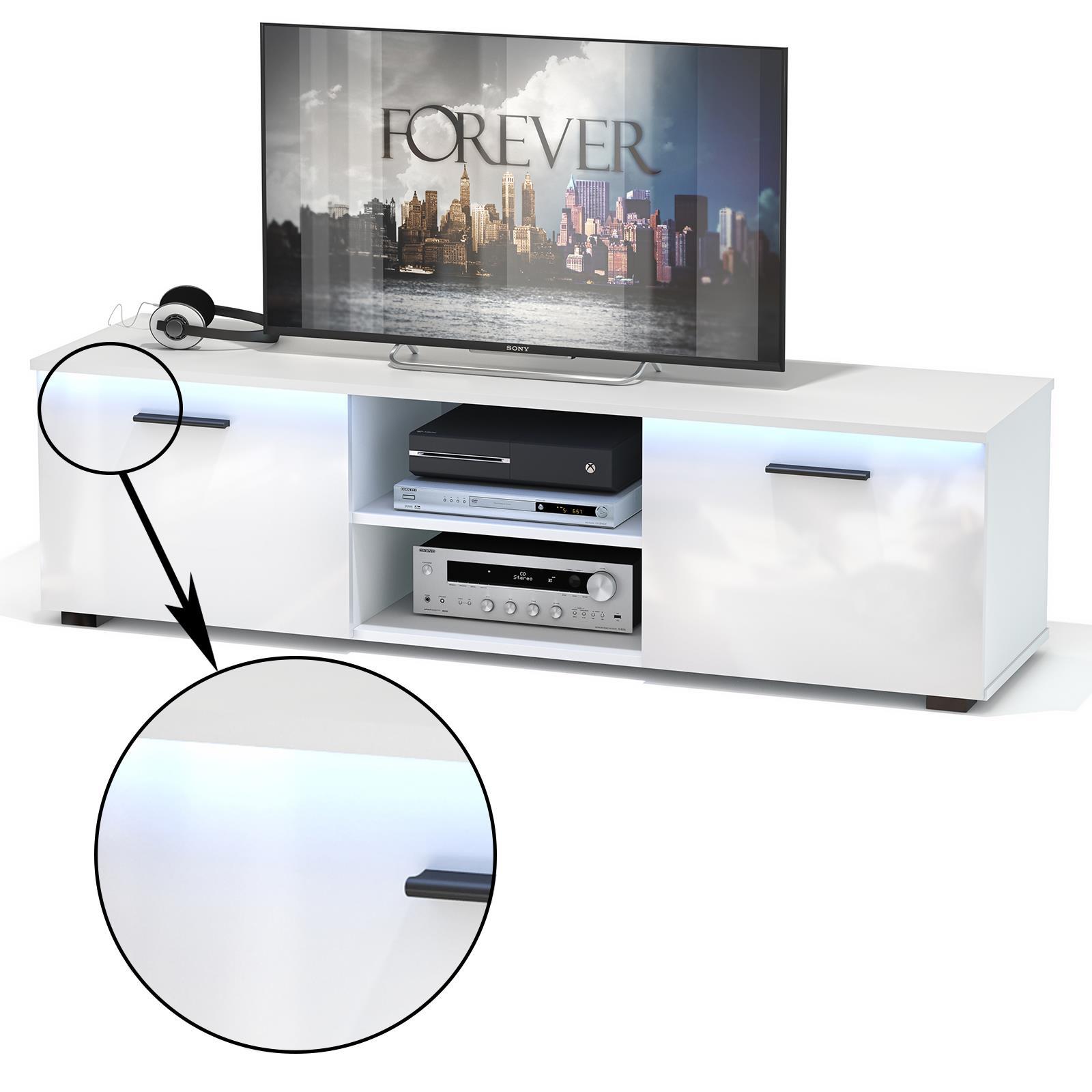 TV-Lowboard MALIBU, weiß Hochglanz mit LED Beleuchtung | CARO-Möbel