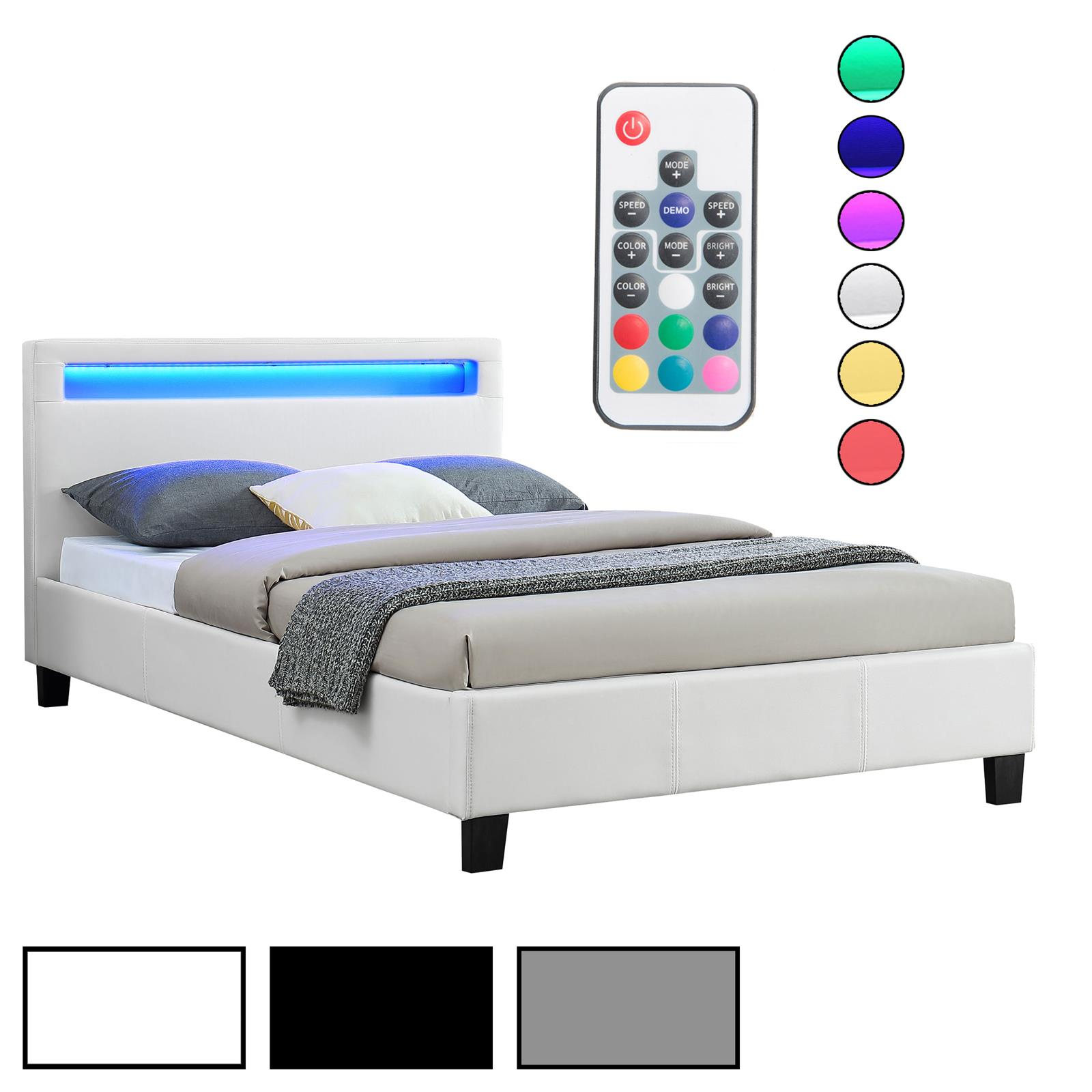 polsterbett einzelbett doppelbett jugendbett mit led 120 x 200 cm kunstleder ebay. Black Bedroom Furniture Sets. Home Design Ideas