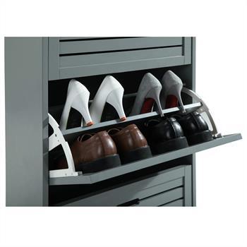 Schuhschrank in grau mit 3 Kippfächern