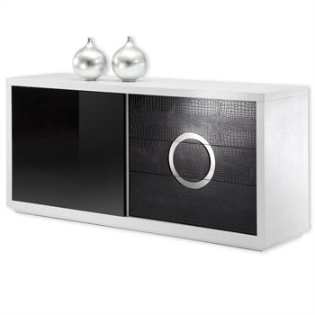 Sideboard SIDNEY in Kroko-Optik schwarz/weiß