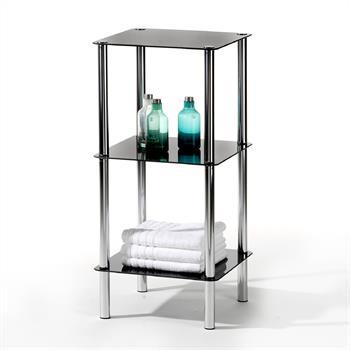 Glasregal mit 3 Böden in schwarz/chrom