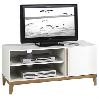 TV Rack mit Tür und Ablagen in weiß/holzfarben