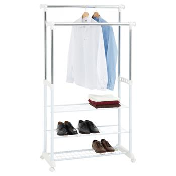 Garderobenwagen chrom/weiß, verstellbar