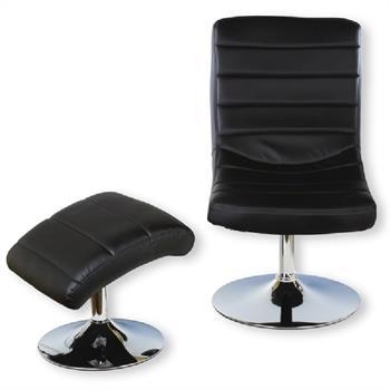 Relaxsessel mit Hocker in schwarz