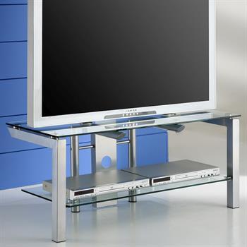 Fernsehtisch aus Glas mit Metallgestell