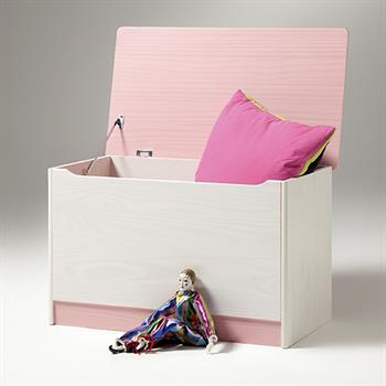 Spielzeugtruhe, Kiefer in weiß-rosa