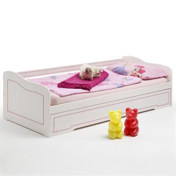 Funktionsbett 90x200 mit Bettauszug weiß/rosa