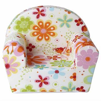 Kindersessel in weiß mit Blumenmotiv