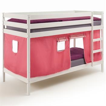 Etagenbett, weiß lackiert, Vorhang in pink
